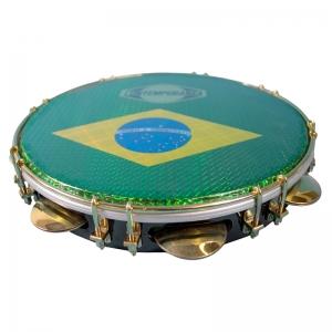 """Pandeiro 10"""" de fórmica- membrana Brasil"""